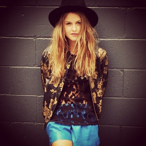 Isabelle Cornish in our Brocade Leather Jacket