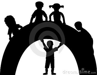 Silhouette of boys and girls with rainbow