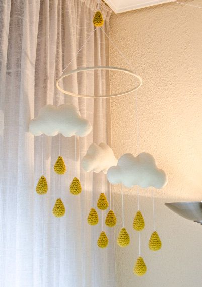 New Clouds and Gold Rain Drops Mobile - Baby Mobile - Nursery Mobile - Crochet Mobile - Nursery Decor - Custom Colors