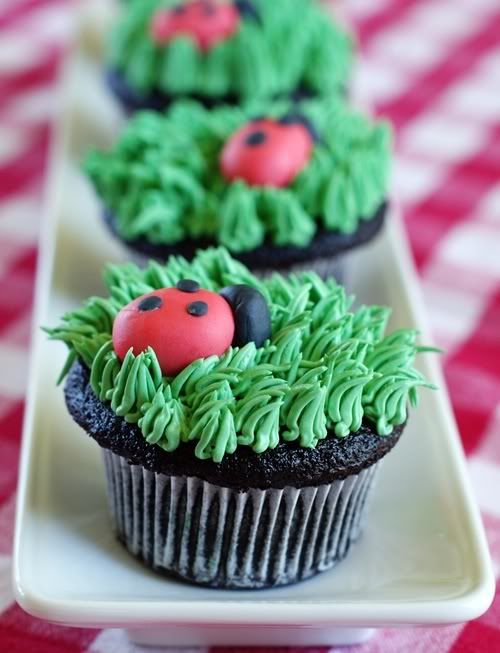 Ladybug Cupcakes by Bridget on Bake at 350. I would make these without the ladybugs and just the grass frosting for a garden party.