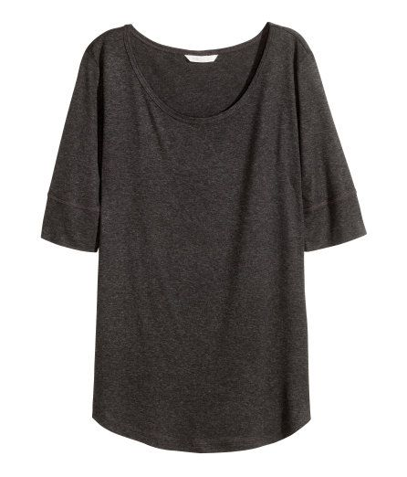 Check this out! Top in soft, gently draping jersey with elbow-length sleeves and a rounded hem. - Visit hm.com to see more.
