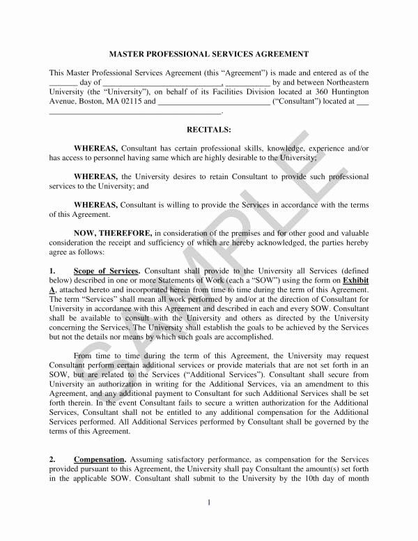 Master Service Agreement Template New Free 10 Master Professional Services Agreement Rental Agreement Templates Monthly Budget Template Templates