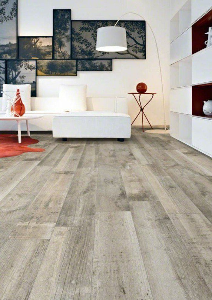 carrelage parquet salon moderne agencement blanc - Model Ede Salon Moderne Blanc
