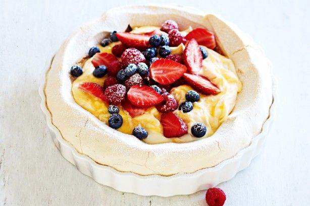Light and rich, this summer dessert offers the best of a classic pavlova and a creamy lemon tart.