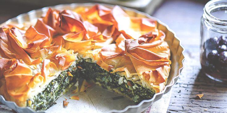 Spinach, Ricotta + Feta Filo Pie via @iquitsugar