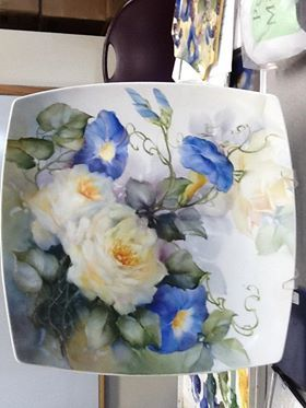 Roses & Morning glories...photo needs to be rotated. Cherryl Meggs. She is a great painter.