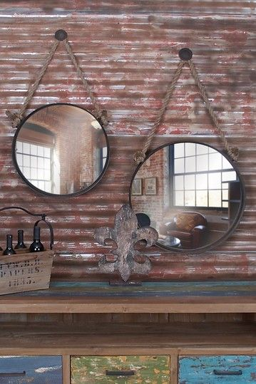 Rustic Vintage Hanging Circle Mirrors - Set of 2 on HauteLook