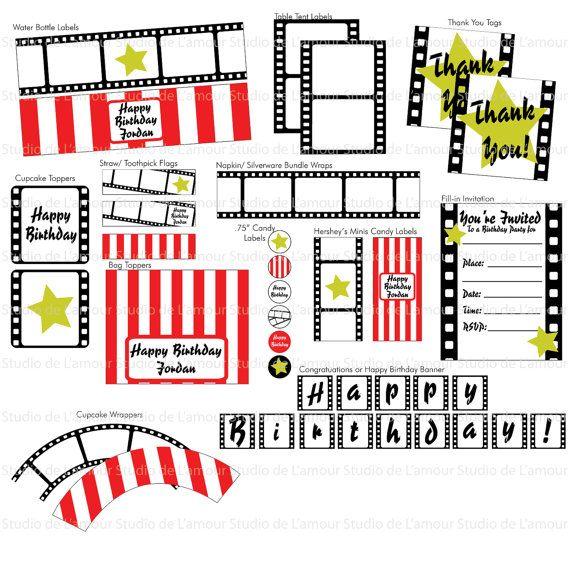 PRINTABLE PDF Movie/ Hollywood Theme Customized PDF Birthday Party Package