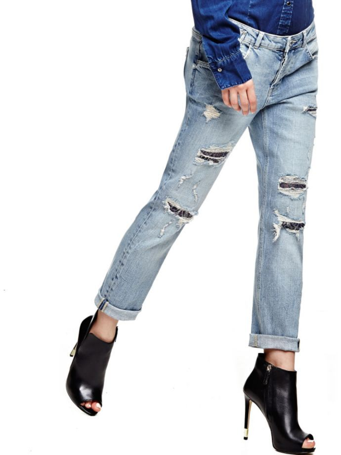 EUR129.90$  Buy here - http://vimdp.justgood.pw/vig/item.php?t=4gldzs26332 - JEANS WITH ABRASIONS AND LACE EUR129.90$