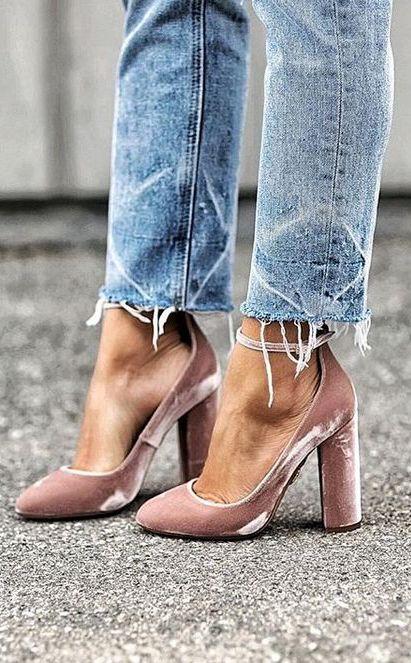 Blush velvet pumps with block heels