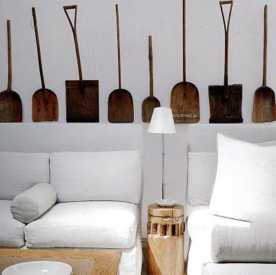 rustic wooden spades