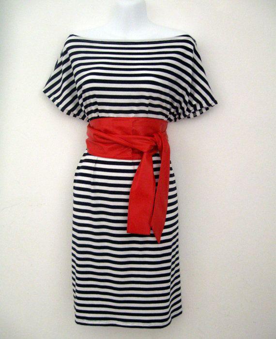 Kimono Marine summer blue and white striped dress with red obi belt