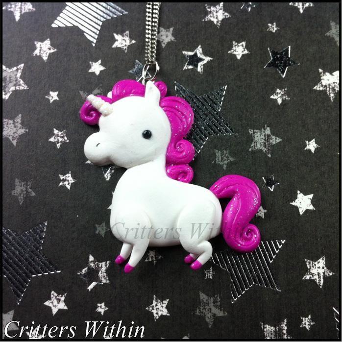 Polymer Clay Unicorn Pendant -By Lunnie on DeviantART https://www.instagram.com/moobrains/