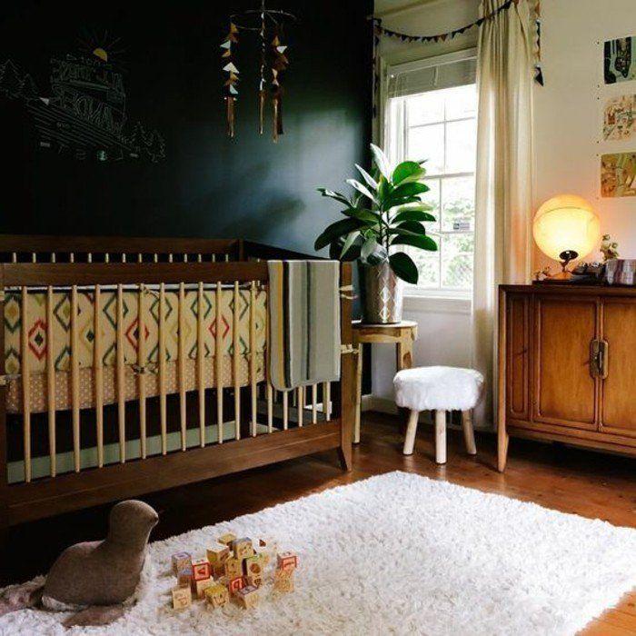 murs noirs dans la chambre bebe, peinture glycéro leroy merlin et tapis blanc