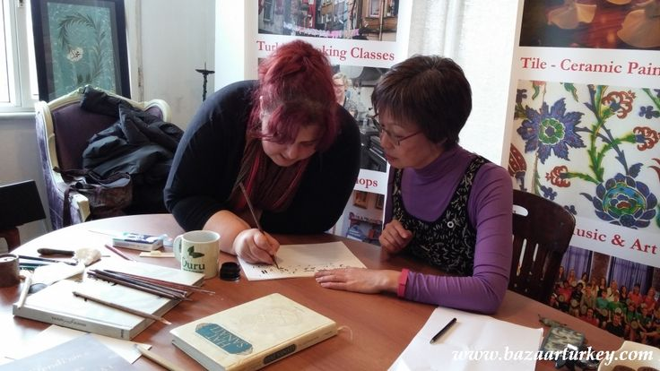 Ottoman - Turkish Calligraphy, also known as Arabic calligraphy, is the art of writing, and by extension, of bookmaking. This art has most often employed the Arabic script, throughout many languages.  Private Calligraphy Class with our friend Amy from Singapore - Sultanahmet / Istanbul - February 2016 http://www.bazaarturkey.com/tours/calligraphy_lessons_istanbul.html