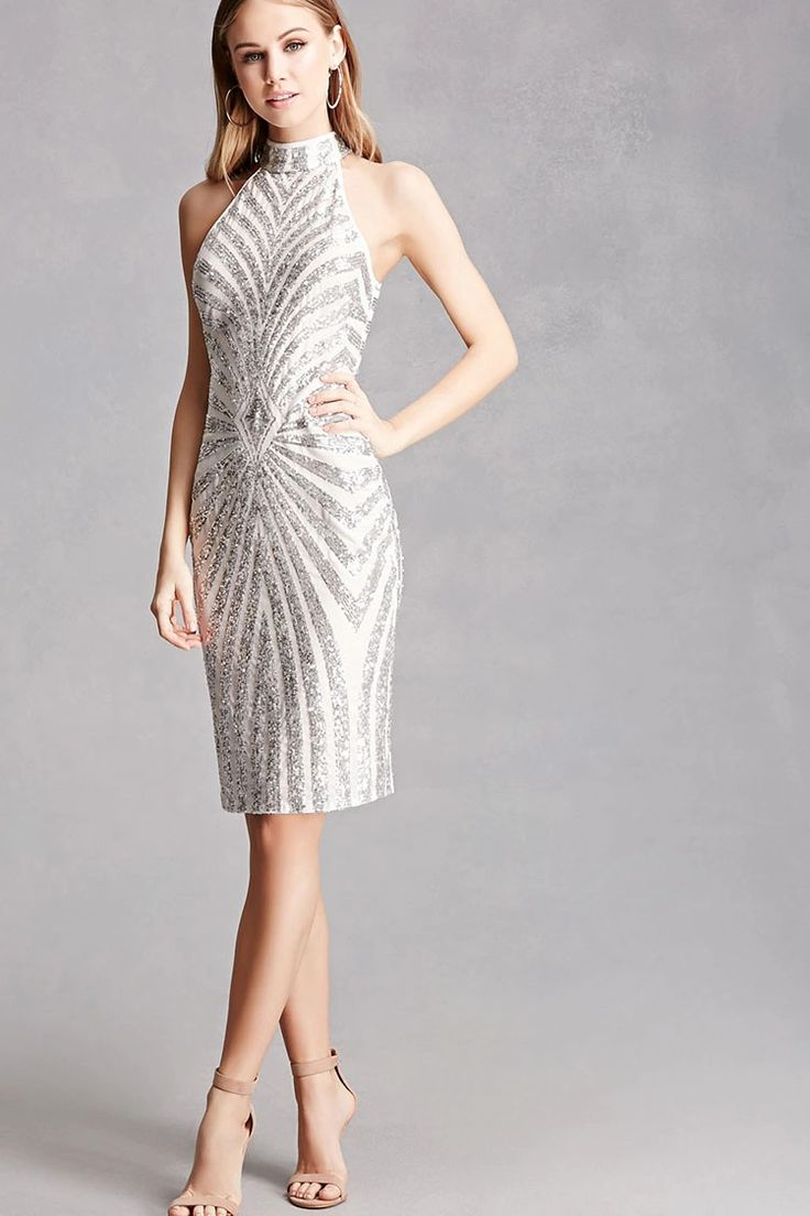 A knit bodycon dress featuring a sequined chevron and geo pattern, a high neckline, an exposed zipper back, and a sleeveless cut. This is an independent brand and not a Forever 21 branded item.