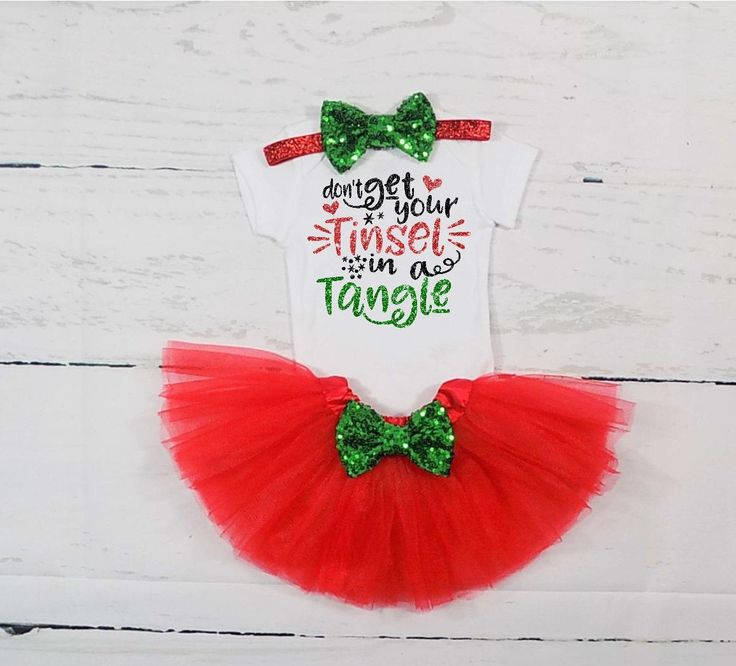 baby girl christmas outfit christmas tutu outfit christmas dress toddler girl christmas outfit dont get your tinsel in a tangle outfit girls by TheLittleQueenBee on Etsy