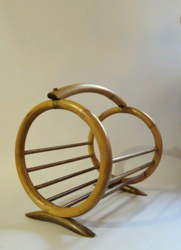 Vintage Bentwood Bamboo Rattan Circular Magazine Holder Modern Bohemian Decor by…