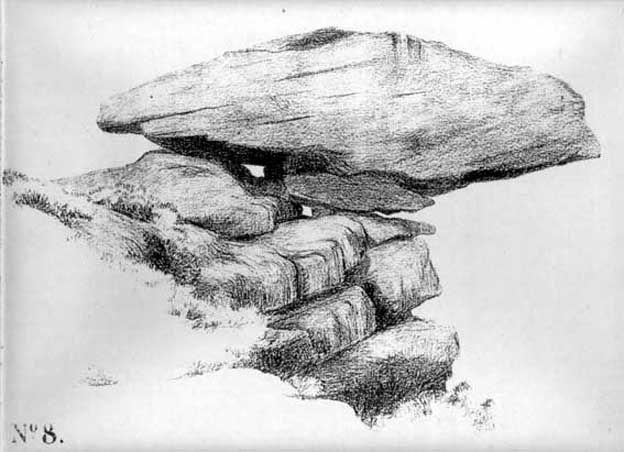 Pancake Stone, Ilkley Moor, West Yorkshire - Previously unpublished image by Mr J. Thornton Dale, 1879