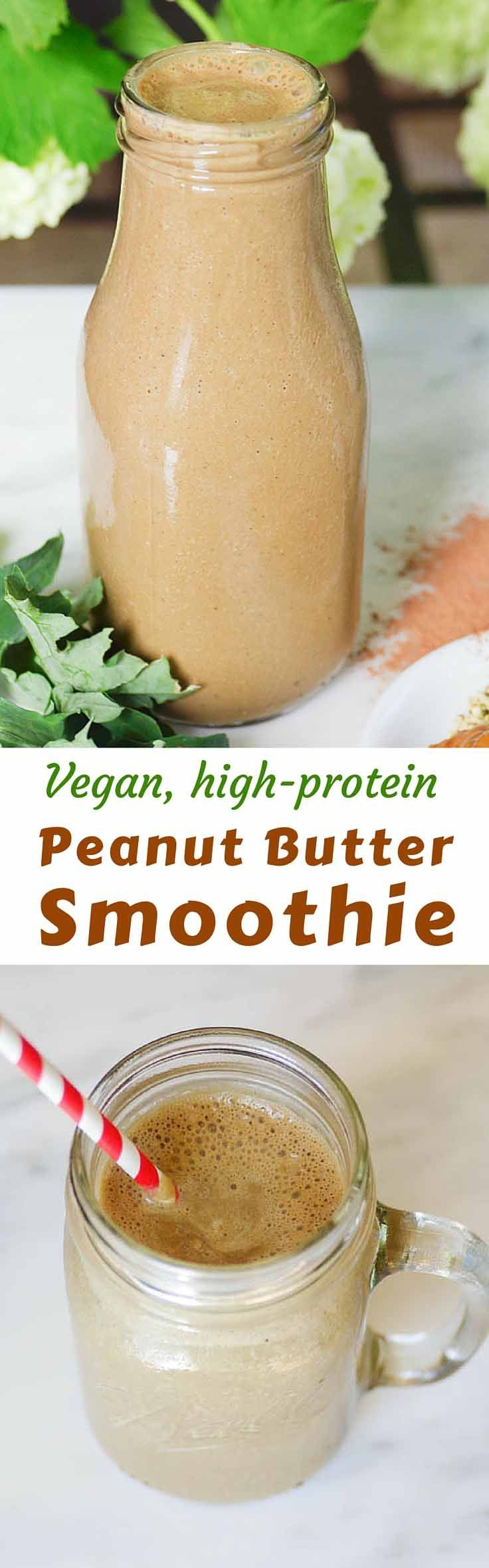Vegan Peanut Butter Protein Smoothie - Packed with fruit, veggies, and protein, this smoothie provides the perfect nutrient boost for a quick post-workout shake │TheFitBlog.com