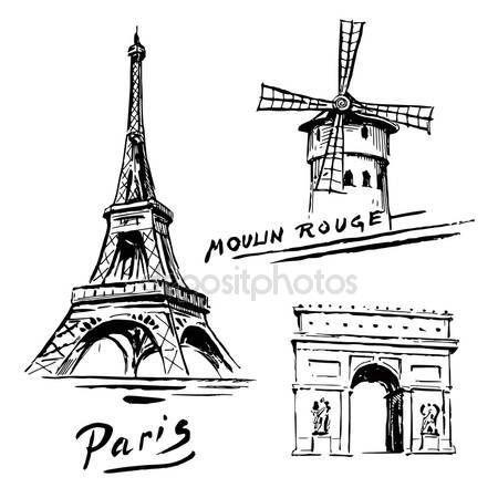 Stáhnout - Paříž, Francie - Eiffelovka - ručně kreslenou kolekce — Stocková ilustrace #13778343
