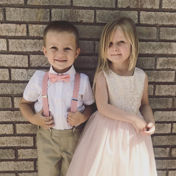 Flower girl and ring bearer outfits | Family outfit ideas | Spring wedding guest outfit kids | blush pink gold khaki suspenders tulle matching