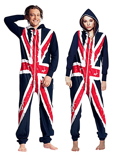 The British sense of humour, courtesy of the nation's proper department store John Lewis. Unisex Union Jack Onesie - www.johnlewis.com. Now you can pop down Waitrose in posh pyjamas - not.