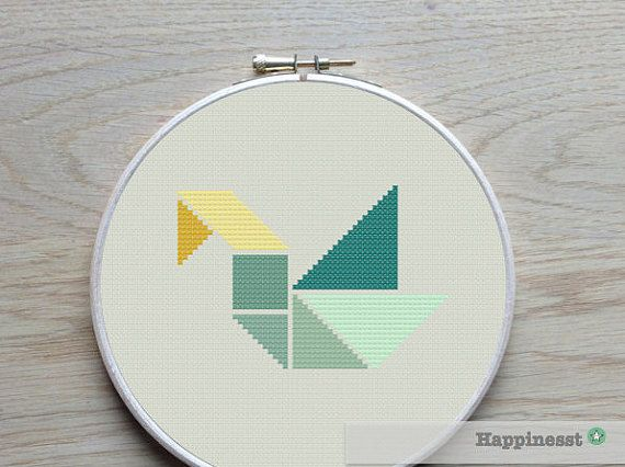 Cross stitch pattern swan Tangram modern cross von Happinesst                                                                                                                                                                                 Mehr