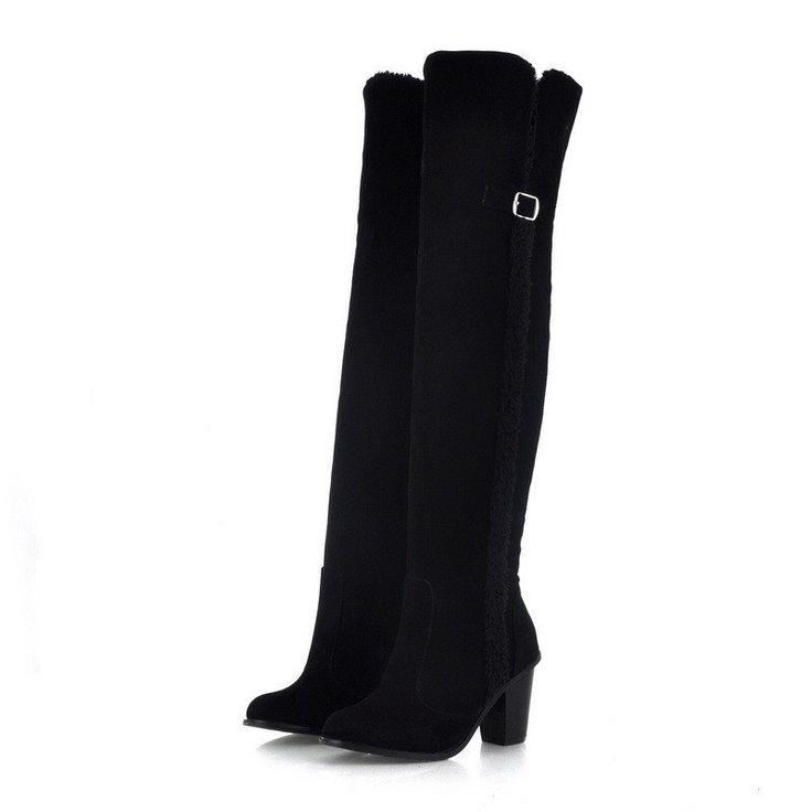 Fur Women Thigh High Boots Winter High Heels Shoes Woman 3347