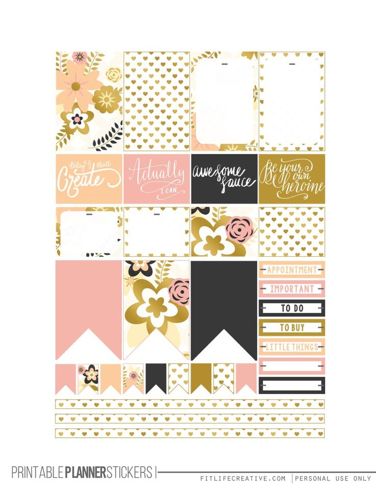 Golden Flowers Printable Happy Planner Stickers 2 pages Silhouette Ready - FREE