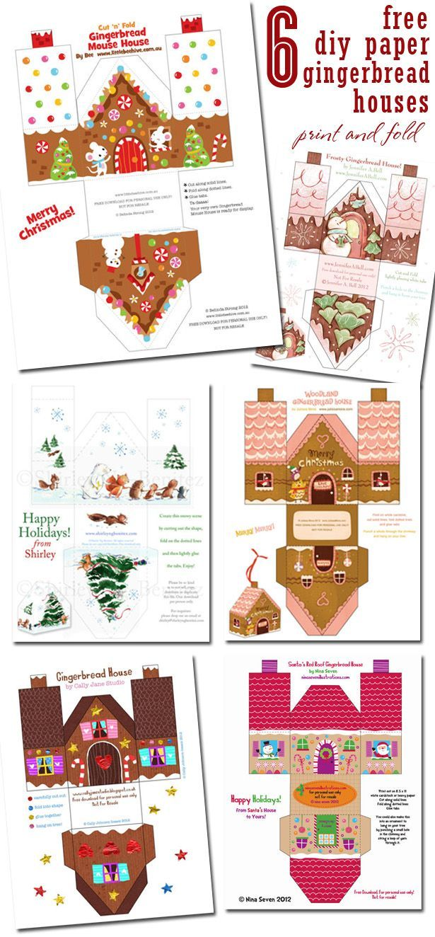 Free paper craft of 6 different 3-D gingerbread house designs. Great to decorate a mantel or your tree. Visit The Celebration Shoppe for more!