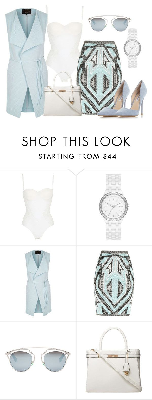 """""""FEELING THE BLUES x 2"""" by samstyles001 on Polyvore featuring La Perla, DKNY, River Island, Hervé Léger, Christian Dior, Dorothy Perkins and Steve Madden"""