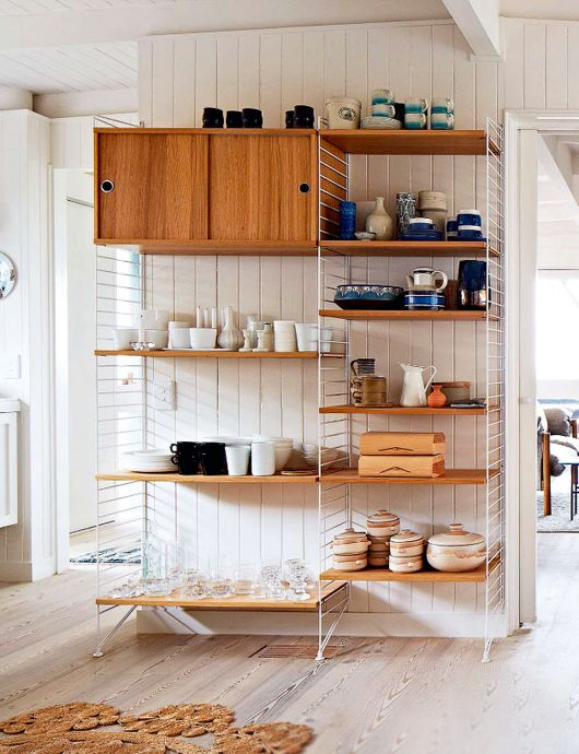 makeover in melbourne. / sfgirlbybay. White on white sunny open space.  White wire shelving/storage with pretty dishware & oaky wood cabinets