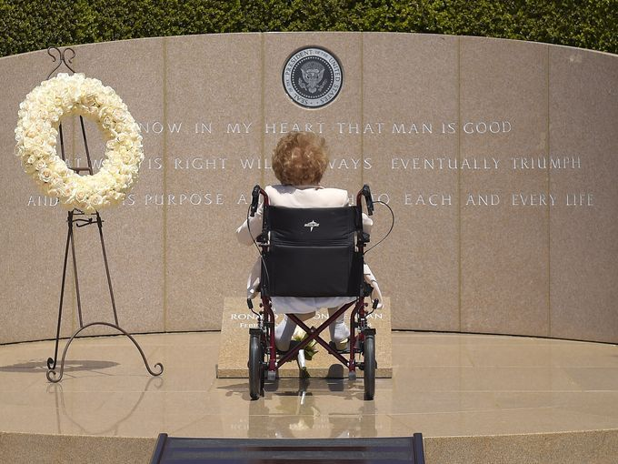 Reagan used a wheelchair during her visit to the Ronald Reagan Presidential Library. (june 5, 2014 - 10th anniversary of reagan's death)