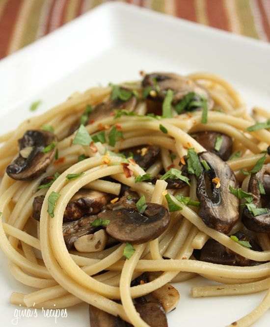 I've been getting a lot of requests for pasta recipes lately so I though this would be a nice addition to my recipes. I love pasta, but I try not to eat it too often because it's high in points. When I do make pasta, I use a lot of vegetables and less pasta so it becomes filling without all the extra points. Any mushrooms would be great for this recipe, or even a combination of a variety of mushrooms. Simple and ready in under 15 minutes.    Spaghetti with Mushrooms, Garlic and Oil Gina's…