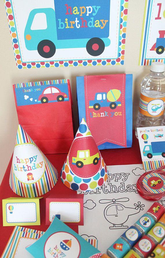 Transportation Birthday Printable Party Kit  by stockberrystudio, $10.00