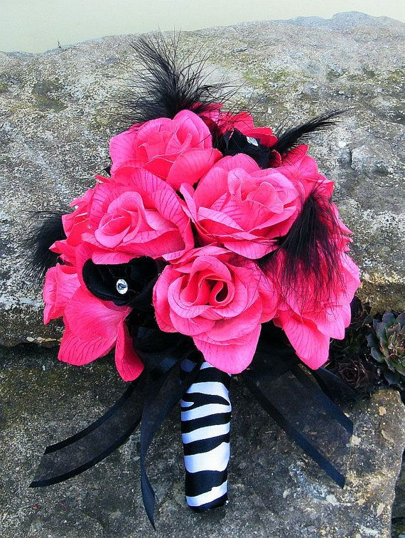 Hot Pink Wedding Bouquets | Wedding Bouquet Bridal Silk flowers zebra FUCHSIA BLACK Hot PINK 17 pc ...