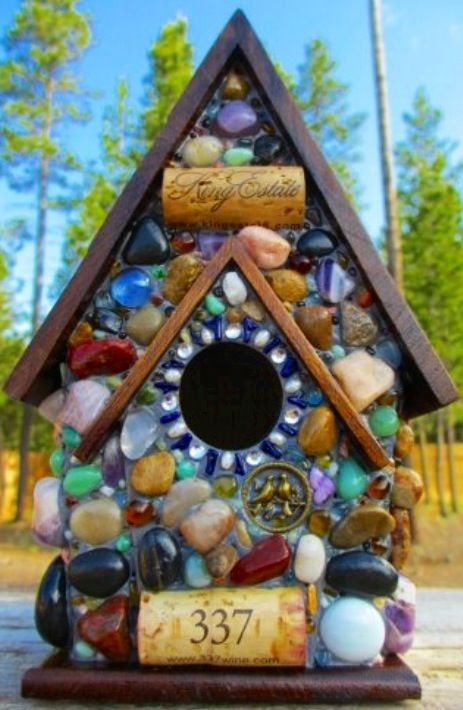 Double pitch roof stone mosaic birdhouse