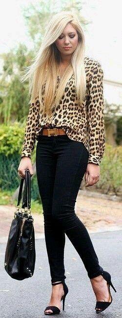Leopard print blouse with black jeans.