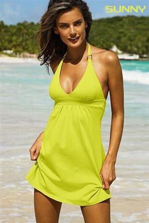 SUNNY Dámské letní šaty vzdušné za krk žluté