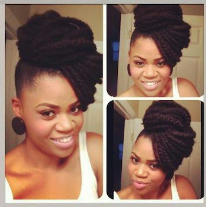Crochet Braids Up In A Bun : Hairstyles, Kinky Curly, Marley Braids, Protective Style, Braids Style ...