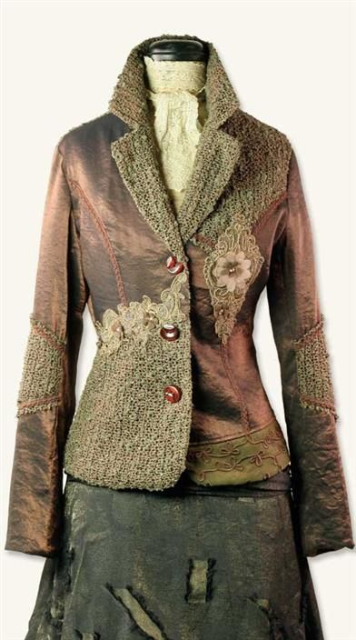 MEMOIR SUIT JACKET — A pretty melange of lace, embroidered taffeta and trims