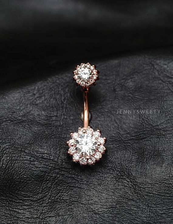CZ belly ring, flower belly button ring, belly piercing, belly jewelry, lotus unique navel ring Silver Rose gold Gold