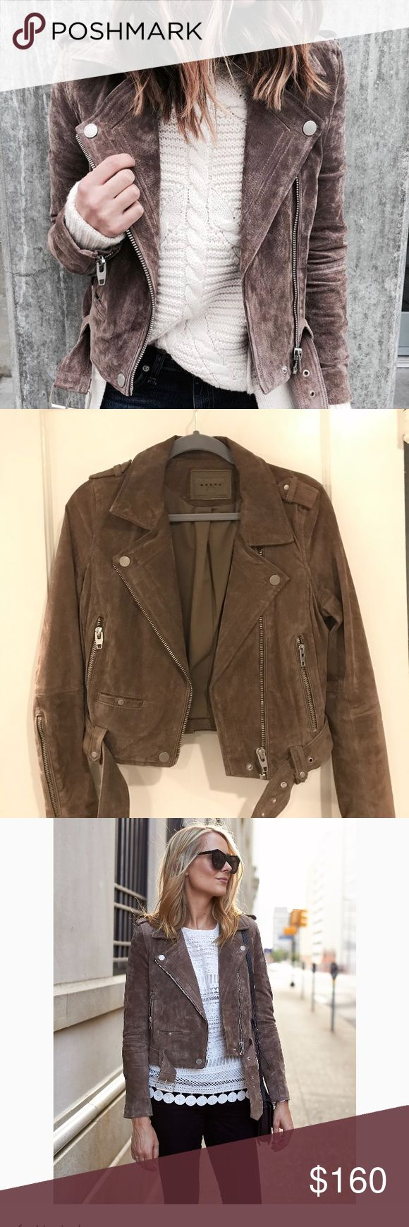 NEW❗️Blank NYC Moto Suede jacket Morning Small New without tags BlankNYC Morning moto jacket in small. Genuine suede leather, perfect condition, only tried on at home a few times and has been sitting in my closet since. With a new baby i will probably never get to wear this for fear of ruining it. This is a blogger favorite and has been featured on so many sites!!! Color is a little hard to capture indoors will try to take more photos in natural lighting. Price is firm, this is still full…