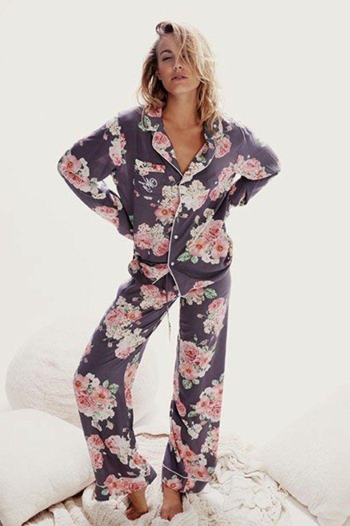 pyjama pilou pilou et les pyjamas chauds femme, dessin floral