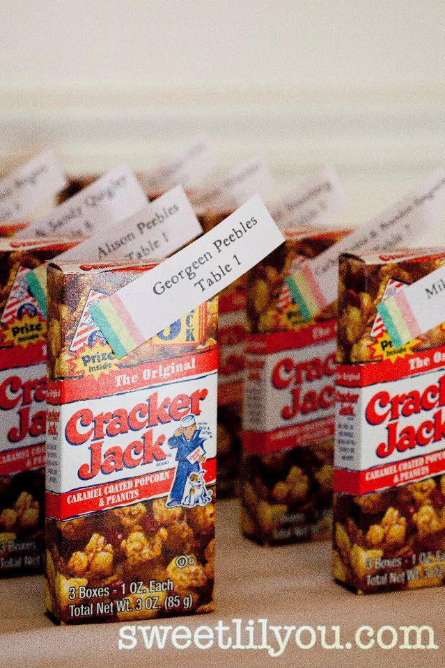 cracker jack wedding favor pics | old coke wedding favors seating chart root beer barrels cracker jacks ...