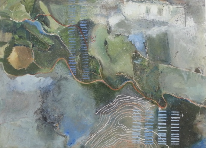 Jaynie Topping – abstract landscapes located through cartographic imagery and symbols.