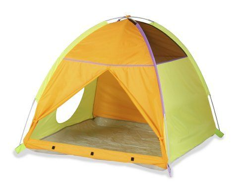"Pacific Play My Little Tent-Green, Orange, Purple by Pacific Play Tents. $39.91. Durable, waterproof polyethylene floor. Easy cleaning with a damp cloth and mild soap. 48"" x 48"" x 42"" high. Carry bag included. 2-pole dome tent with mesh panels, zippered T-style door with tunnel hole. From the Manufacturer                Pacific Play Tents My Little Tent features 2 sturdy P.U. coated shock-corded poles for easy assembly. This dome tent has mesh panels, a zippered T-styl..."