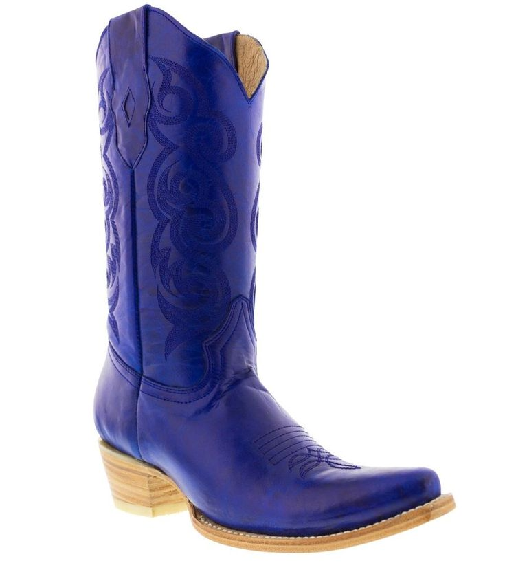 women's caroline blue western leather cowboy boots rodeo cowgirl riding ladies #TexasLegacy #CowboyWestern #Casual