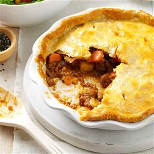 Tasty Meat Pie Recipe -I work full time as a nurse, so I depend on quick and easy meals like this one. My sister suggested I use canned soups instead of prepared gravy. Now my husband and teenage son ask for seconds and even thirds. —Cheryl Cattane, Lapeer, Michigan